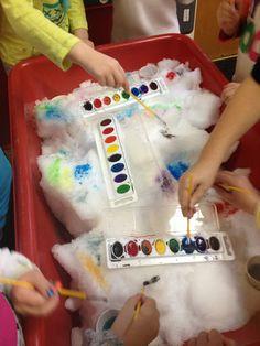 Sensory table art: winter watercolor painting on snow sensory activities, c Snow Activities, Sensory Activities, Classroom Activities, Toddler Activities, Sensory Play, Snow Sensory Table, Toddler Sensory Bins, Holiday Activities For Kids, Sensory Boxes
