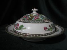 COALPORT INDIAN TREE MULTICOLOR A.D.1750 GREEN STAMP COVERED / MUFFIN DISH ebay 47