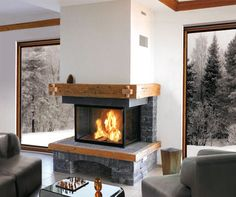 Pin by franck on cheminee in 2018 Home Fireplace, Modern Fireplace, Living Room With Fireplace, Fireplace Design, Living Room Decor, Double Sided Gas Fireplace, Home Garden Design, Cabin Homes, Elegant Homes