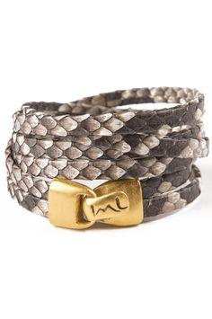 Petite Python Wrap Bracelet in Natural Grey