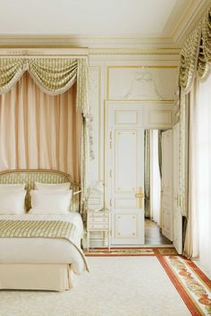 The bedroom in the Suite Vendome at the newly renovated Ritz Paris Hotel.. Well goals.