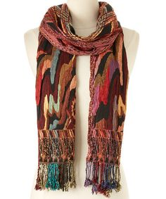 Black & Earth-Tone Wave Silk-Blend Scarf #zulily #zulilyfinds