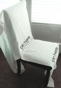 Ruthie be Maude: DIY Stenciled Parson Chair Slipcovers... #ChairCovers