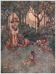 "Illustration by William Heath Robinson (1872-1944) from the Shakespearean favorite, ""A Midsummer's Dream."""