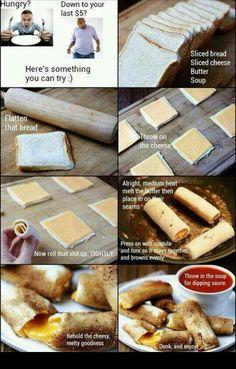 Poor mans homemade cheese sticks