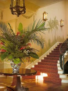 Love the tropical floral arrangement! - Mark Hampton's British colonial style project in southern Florida with architect Charles Pawley. West Indies Decor, West Indies Style, British West Indies, Tropical Home Decor, Tropical Style, Tropical Houses, Tropical Interior, Tropical Colors, Colonial Bedroom