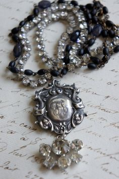 English Society -Vintage assemblage necklace sterling rosary beads rhinestones assemblage jewelry - by French Feather Designs.