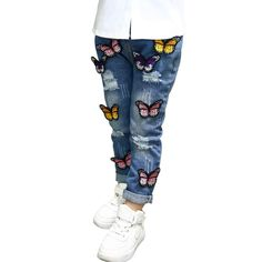 Butterfly Hole Baby Cowboy Clothing Girls Jeans