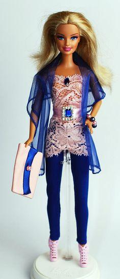 Spielzeug - Barbiekleidung mit Schuhen, Leggings, Tasche - ein Designerstück von shopmauselke bei DaWanda