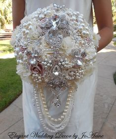 STUNNING BROOCH BOUQUET- Deposit for A Custom Cascading Ivory Jeweled Wedding Bouquet, Brooch Bouquet, Ivory Wedding Bouquet,full price 550
