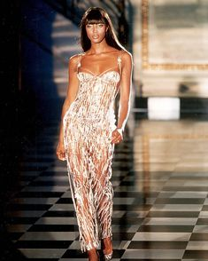 Naomi Campbell for Atelier Versace Autumn/Winter 1995 during Paris week