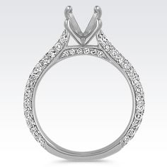 Classic Pavé-Set Round Diamond Cathedral Engagement Ring