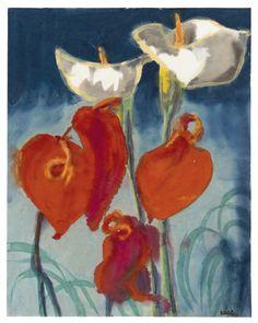 "herzogtum-sachsen-weissenfels: ""Emil Nolde (German, 1867-1956), Callas und Anthurien, n.d. Watercolor on Japan paper, 45.9 x 36.3 cm. """