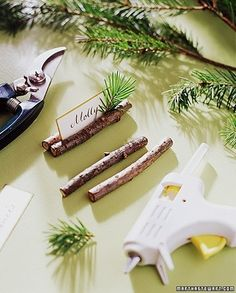 I like this simple and inexpensive way to make name card holders.