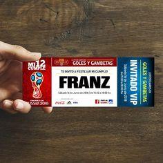 pack 12 invitaciones diseñadas fútbol mundial rusia 2018