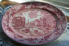 SALE 10% OFF!   Johnson Brothers red transferware oval platter- Historic America - Barnum's Museum
