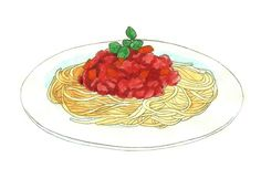 Draw Spaghetti dish -via wikiHow.com  On this page you will see suggestions on the side to draw a wine glass, cupcakes and other items.