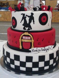50's style, 50th anniversary cake 70th Birthday Parties, 50th Birthday Party, Birthday Cake, Dad Cake, 50th Cake, Grease Themed Parties, Grease Party, 1950 Diner, 1950s