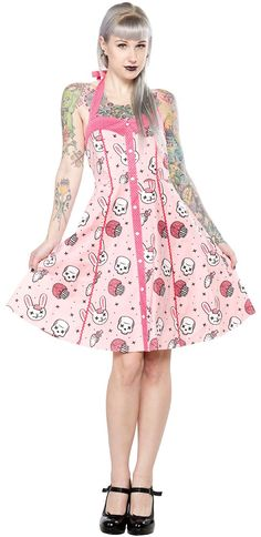 SOURPUSS ZOMBIE BUNNIES PEGGY DRESS If it's little white bunnies you're looking for this season, then look no further! The super flattering silhouette of our Peggy Dress is the perfect foundation for this fun zombie bunny print! Wear it to all your springtime functions and be the center of attention! (We can pretty much guarantee it.) This dress has elastic in the back and a zip closure for a polished fit. $52.00 #sourpuss #sourpussclothing #easter #zombie #bunnies #cupcakes #brains