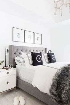 Grey Headboard Bedroom Ideas Fresh Grey Tufted Headboard Light and Bright Bedroom Home Decor Condo Bedroom, Master Bedroom Interior, Home Interior, Home Decor Bedroom, Master Bedrooms, Interior Ideas, Kids Bedroom, Condo Interior Design, Bedroom Suites
