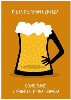 """""""Dieta de gran certeza, come sano y permítete una cerveza"""". Serie """"propiedades de la cerveza""""-2"""
