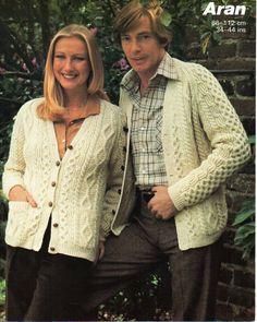 womens mens aran cardigan knitting pattern PDF ladies aran jacket cable v neck…