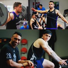 The All Blacks hit the gym as they prepare to take on Namibia later this week. The team for that match will be named in a few hours so stay tuned. Rugby Workout, All Blacks, Rugby Players, Stay Tuned, Gym, White People, Rugby Coaching, Excercise, Gymnastics Room