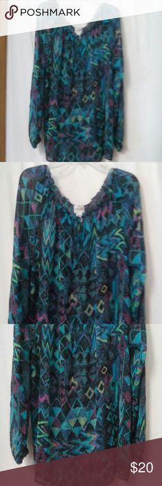 "Chicos Women's Size 2 (Large) Silk Boho Top Blouse Barely worn, black, teal, pink, lime pattern, long sleeve, ruffle trim, sheer, elastic neck and sleeve, ties at the neck, silk, dry clean, chest 46"", length 26"" Chico's Tops Blouses"