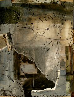 """sweetpeapath: """" artpropelled: by Jeane Myers visual diary of cut up paintings stitched together into new pages… """""""