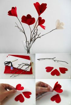 Excellent diy flowers info are offered on our site. Take a look and you wont be sorry you did. Tissue Paper Flowers, Felt Flowers, Diy Flowers, Fabric Flowers, Valentines Day Decorations, Valentine Day Crafts, Valentine Heart, Diy Home Crafts, Diy Arts And Crafts