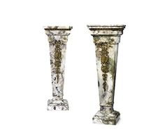 A pair of late 19th century Louis XVI style gilt-bronze mounted Pink Brèche marble pedestals (2)