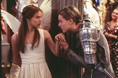Romeo + Juliet directed by Baz Luhrmann, starring Leonardo DiCaprio and Claire Danes, stage play by William Shakespeare Leonardo Dicaprio Romeo, Whitney Houston, Romeo And Juliet Leonardo, Romeo Und Julia, Baz Luhrmann, Romeo Y Julieta, Plus Tv, Foto Poster, Bon Film
