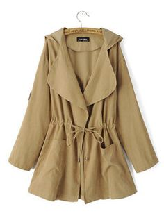 Drawstring Pockets Solid Color Turn Down Collar Trench Jacket - Newchic Fall Jackets, Long Jackets, Denim Jackets, Coats For Women, Jackets For Women, Army Green Bomber Jacket, Trench Jacket, Suit Jacket, Pantalon Slim