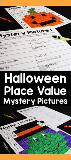 These color by number place value mystery pictures are my favorite Halloween place value activity. I love that there are 8 mystery pictures included in this pack. Second Grade Writing, Teaching Second Grade, First Grade Science, First Grade Activities, First Grade Reading, First Grade Math, Kindergarten Activities, Preschool, Number Place Value
