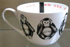 PORTOBELLO BY INSPIRE MUG CUP COFFEE  SEE HEAR SPEAK NO EVIL MONKEY BLACK WHITE #PORTOBELLOBYINSPIRE
