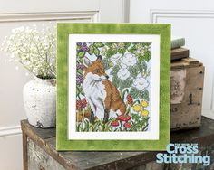 Fantastic Mr Fox – a #British wildlife scene to #crossstitch. A lifelike #fox, peering out from the beautiful wildflower hedgerow, is captured in cross stitch oh-so perfectly! See the pattern only in the new issue 220 of The World of Cross Stitching magazine