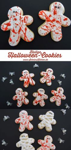 Halloween cookies: a bloodbath with Royal Icing on scary-beautiful biscuits in the form of gingerbread men. Great for the Halloween party. www. Halloween Donuts, Halloween Desserts, Spooky Halloween, Biscuits Halloween, Hallowen Food, Halloween Torte, Halloween Backen, Postres Halloween, Halloween Cookie Recipes