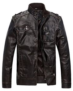 Wantdo Mens Vintage Stand Collar Leather Jacket ** Find out more about the great product at the image link.