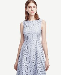 Detailed with intricate eyelet, this charmingly pretty dress flaunts dreamy hues in a femme flare silhouette. Hidden back zipper with hook-and-eye closure. Lined. from natural waist. Work Wardrobe, Flare Dress, Pretty Dresses, Style Guides, Fit And Flare, Ann Taylor, Bridesmaid Dresses, Womens Fashion, Jewel