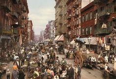 "Mulberry Street, Manhattan, um 1900 (Fotoband ""American Odyssey"": Als Amerika Farbe bekam)"