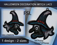 Witch decorations halloween lace window - FSL - 5x7hoop/5.51x7.87hoop - Machine…