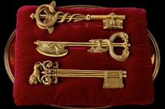 Exquisite symbolic keys representing the three divisions of Lyon created by Joseph Chinaed for the visit of Emperor Napoleon I and Josephine to the area in 1805.