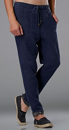 Blue Commoner Wind Cuffs Low-Crotch Carrot Pants via Asia-Sale Best Tai Chi, Kung Fu Clothing