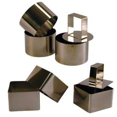 3 Cercles de présentation Inox avec poussoir + 3 Carrés de présentation Inox avec poussoir - 6 CM