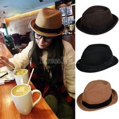 New Unisex Vintage Ladies Mens Wool Trilby Bowler Fedora Bowknot Hat Cap Trilby Hat, Bowler Hat, Fedora Hat, Dress Link, Sun Hats, Cheap Dresses, Summer Beach, Teen Fashion, Wool Felt