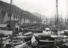 Here we see Bryggen photographed by Knud Knudsen sometime between 1882 and UB - archive has urban and landscape photographs of Knudsen from 1862 to 1900 Bergen, Trondheim, 12th Century, Nature Images, Capital City, Landscape Photographers, West Coast, Norway, Medieval