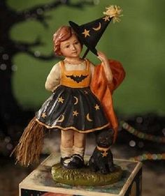 7 resin Camilla Witch Trick or Treater figure, United States, by Bethany Lowe. Country Halloween, Vintage Halloween, Halloween Fashion, Halloween Kids, Halloween Costumes, Polymer Clay Halloween, Bethany Lowe, Halloween Decorations, Folk Art