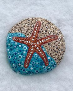 Dotted Starfish with a snowy background. Couldn't pass up the photo op #starfish #dottedstarfish #paintedrocksofinstagram #paintedrocks…
