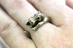 Antique Bronze Hippopotamus Ring Adjustable  Moon Raven by mrd74