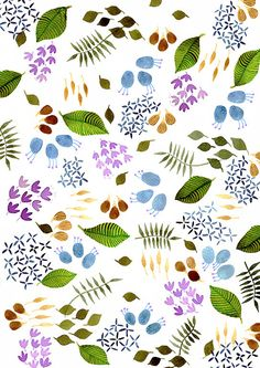 green leaves fine art print illustration summer par EeliArtStudio